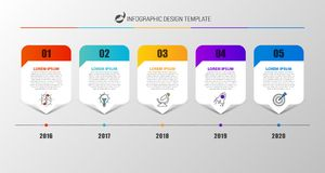 Infographic design template. Creative concept with 5 steps. Can be used for workflow layout, diagram, banner, webdesign. Vector illustration Stock Photo