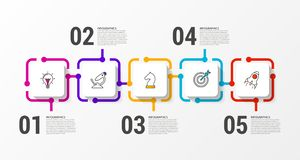 Infographic design template. Creative concept with 5 steps stock images