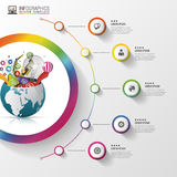Infographic design template. Creative world. Colorful circle with icons. Vector illustration Stock Images
