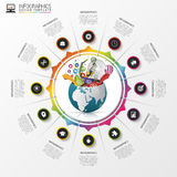 Infographic design template. Creative world. Colorful circle with icons. Vector. Illustration royalty free illustration