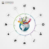 Infographic design template. Creative world. Colorful circle with icons. Vector Stock Photo