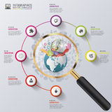 Infographic design template. Creative world under the magnifying glass Royalty Free Stock Images