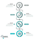 Infographic design template, diagram with 4 circular elements successively connected by lines Stock Photos
