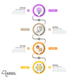 Infographic design template, diagram with 4 circular elements successively connected by lines Royalty Free Stock Photos