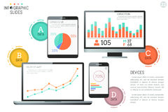 Infographic design template. Diagrams, graphs and bar charts on screens of electronic devices. Desktop and mobile versions of business application concept Royalty Free Stock Images