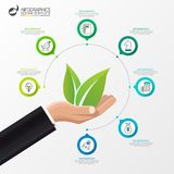 Infographic design template. Ecology concept with 7 steps. Can be used for workflow layout, diagram, banner, webdesign. Vector illustration Stock Image