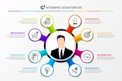 Infographic design template with eight steps. Business concept. Vector illustration Royalty Free Stock Photos