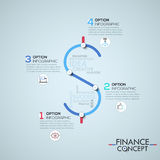 Infographic design template. With 4 elements connected by lines in shape of dollar sign, business finance and budget planning concept. Vector illustration for Royalty Free Stock Image