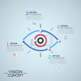 Infographic design template with elements connected by lines in shape of eye. Vision and observation concept. Vector illustration for corporate website Stock Photography