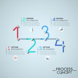 Infographic design template with elements connected by lines in shape of four numbers. Business development process concept. Vector illustration for corporate Royalty Free Stock Images