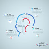 Infographic design template with elements connected by lines in shape of human head Royalty Free Stock Images