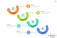 Infographic design template. Four round elements arranged in diagonal line, surrounded by arrows and connected with stock illustration