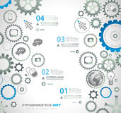 Infographic design template with gear chain. Stock Image