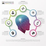 Infographic design template. Head with icons. Vector. Illustration. Can be used for diagram, banner, number options, workflow layout, step up options or web vector illustration