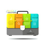 Infographic design template, jigsaw puzzle in shape of briefcase divided into 4 lettered pieces Stock Image