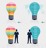 Infographic design template. Light bulb with colorful infographi Stock Photos