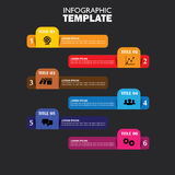 Infographic design template and marketing vector icons. This business concept has 6 options, choices, steps or processes and can be used for workflow layout stock illustration