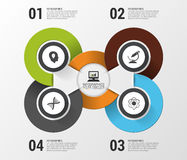 Infographic design template with modern circles on the grey background. Vector illustration Royalty Free Stock Photos