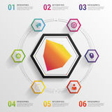 Infographic design template. Modern statistics vector hexagon. illustration Royalty Free Stock Photos
