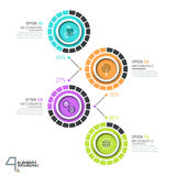 Infographic design template with 4 numbered circular elements Stock Photos