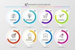 Infographic design template. Organization chart with 8 steps. Percentage diagrams. Vector illustration Stock Photo