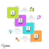 Infographic design template with 4 overlapped squared elements Royalty Free Stock Photos