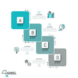 Infographic design template with 4 overlapped squared elements Stock Photography