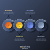 Infographic design template with 4 overlapped transparent circular elements on dark background. Mobile app and software development concept. Vector Stock Image