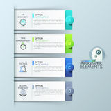 Infographic design template with 4 rectangular elements, options for business success. Project management and strategy planning concept. Vector illustration royalty free illustration