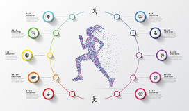 Infographic design template. Running. Colorful circles with icons. Vector illustration Stock Photos