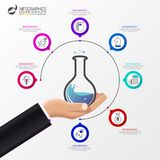 Infographic design template. Science concept with 7 steps. Can be used for workflow layout, diagram, banner, webdesign. Vector illustration Royalty Free Stock Photography