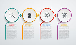 Infographic design template with 4 step structure. Business data, flowchart, pie chart with lines Stock Illustration
