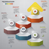 Infographic design template with 5 steps structure up arrow. Royalty Free Stock Photography