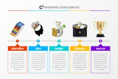 Infographic design template with 5 steps. Timeline. Vector. Infographic design template with 5 steps. Timeline. Business success concept. Vector illustration Stock Image