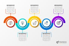 Infographic design template with 5 steps. Timeline. Vector. Illustration Stock Photos