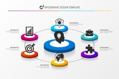 Infographic design template with 6 steps. Vector. Illustration Stock Photos