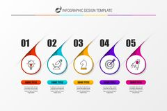 Infographic design template with 5 steps. Vector. Illustration Stock Photos