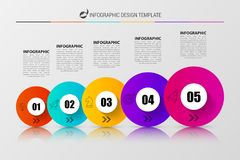 Infographic design template with 5 steps. Vector. Illustration Royalty Free Stock Images