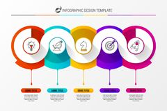 Infographic design template with 5 steps. Vector. Illustration Stock Photography