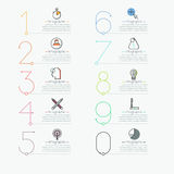 Infographic design template in thin line style. Multicolored figures, pictograms and text boxes. List of business project features concept. Vector illustration Stock Photo