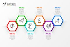 Infographic design template. Timeline concept with 6 steps. Can be used for workflow layout, diagram, banner, webdesign. Vector illustration Royalty Free Stock Images