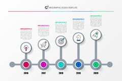 Infographic design template. Timeline concept with 5 steps. Can be used for workflow layout, diagram, banner, webdesign. Vector illustration royalty free illustration