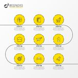 Infographic design template. Timeline concept with 9 steps stock illustration
