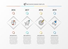 Infographic design template. Timeline concept with 4 steps. Can be used for workflow layout, diagram, banner, webdesign. Vector illustration Stock Image