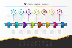 Infographic design template. Timeline concept with 7 steps. Can be used for workflow layout, diagram, banner, webdesign. Vector illustration vector illustration