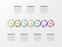 Infographic design template. Timeline concept with 7 steps royalty free stock photos