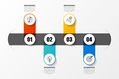Infographic design template. Timeline concept with 4 steps. Vector illustration Royalty Free Stock Photography