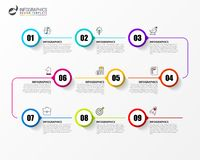 Free Infographic Design Template. Timeline Concept With 9 Steps Stock Image - 125680191