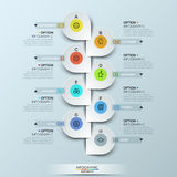 Infographic design template with vertical timeline and 8 connected icon badges Royalty Free Stock Photography