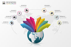 Infographic design template. World with arrows. Vector Stock Photos